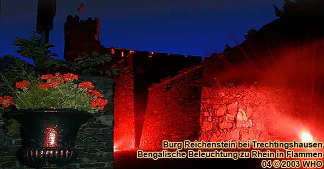 Bengal illumination of castle Reichenstein above Trechtingshausen