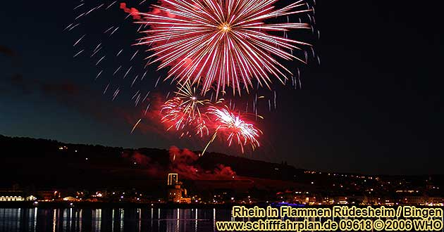Firework Rhine in Flames near Rudesheim and Bingen on the Rhine River Rüdesheim