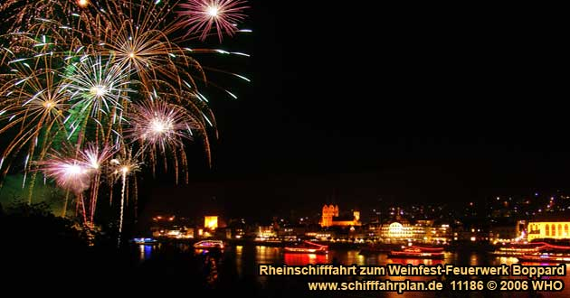 Firework Luminous Night on the Middle Rhine River in Boppard on the Rhine River
