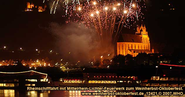 Boat cruise Rhine River Lights with Golden wine autumn and Swimming October festival on board
