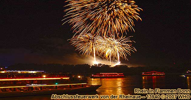 Firework Rhine in Flames near Bonn on the Rhine River