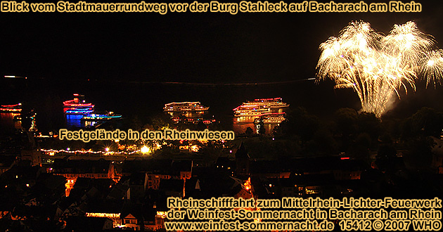 Rhine River Lights firework display with boat parade, wine festivalsSummer night