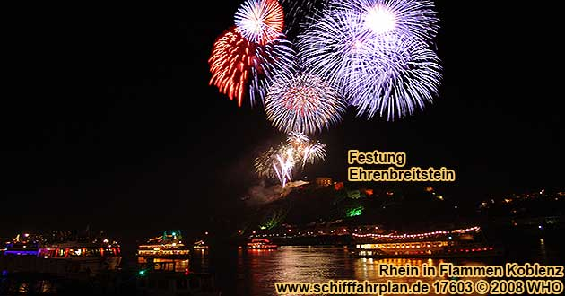 Firework Rhine in Flames near Koblenz / Coblence on the Rhine River