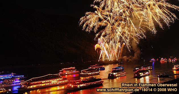Firework Rhine in Flames near Oberwesel on the Rhine River