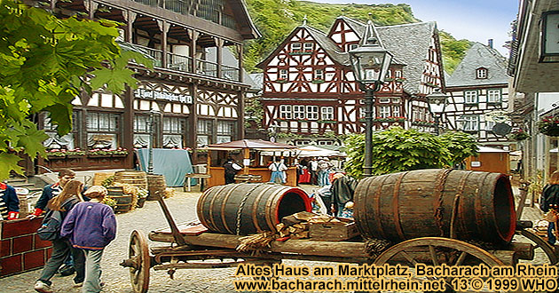 Bacharach on the Rhine River, old house on the historical market place