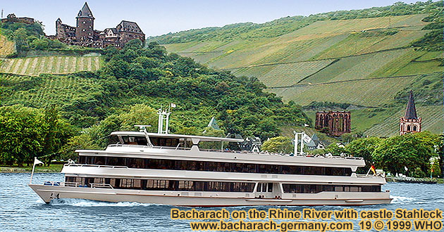 Boat crusie on the Rhine River with castle Stahleck near Bacharach