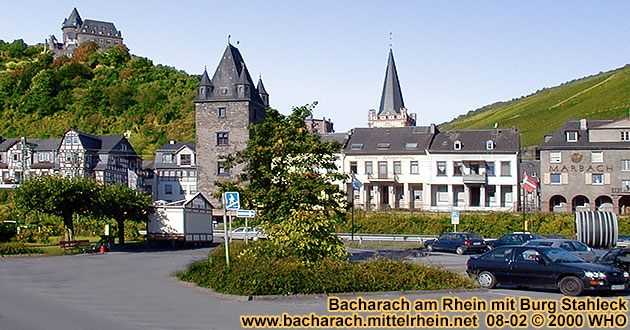 Bacharach on the Rhine River with castle Stahleck