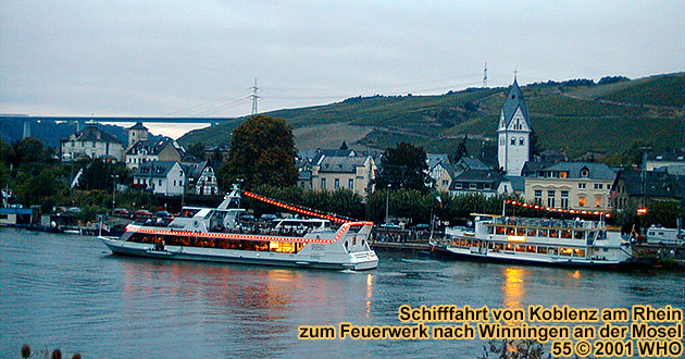 "Boat cruise to the firework display ""The Moselle River in fire magic"""