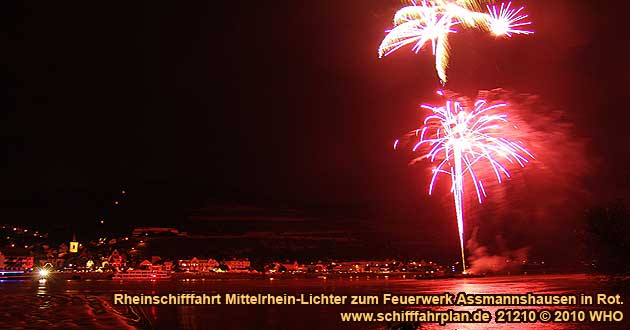 "Boat cruise Rhine River Lights to the red wine festival ""Assmannshausen in Rot"""