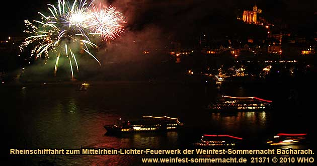Boat cruise Rhine River Lights to the wine festival summer night in Bacharach on the Rhine River