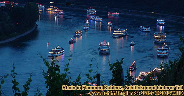 Boat parade Rhine in Flames near Koblenz / Coblence