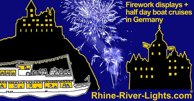 Rhine River Lights boat cruise with firework display on the Rhine River between Koblenz / Coblence and Rudesheim with wine festivals and wine hiking